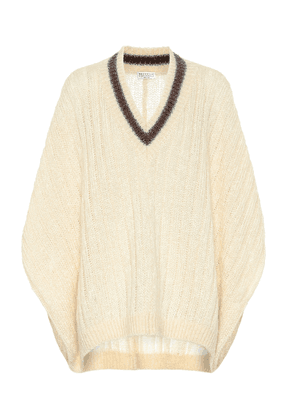 Mohair and wool-blend poncho