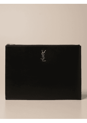 Saint Laurent clutch bag in smooth leather with YSL logo