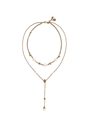 Skull faux pearl-embellished necklace