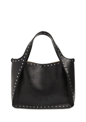 Logo Studded Faux Leather Tote Bag