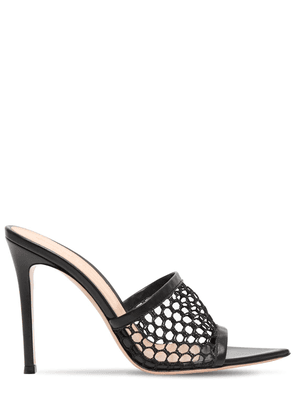 105mm Mesh & Leather Net Mules