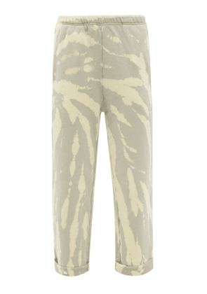 Les Tien - Snap-front Tie-dye Brushed-back Cotton Track Pants - Womens - Light Blue