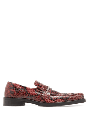 Martine Rose - Python-effect Leather Penny Loafers - Mens - Red
