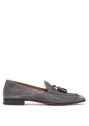 Christian Louboutin - King Nile Tasselled Suede Loafers - Mens - Grey