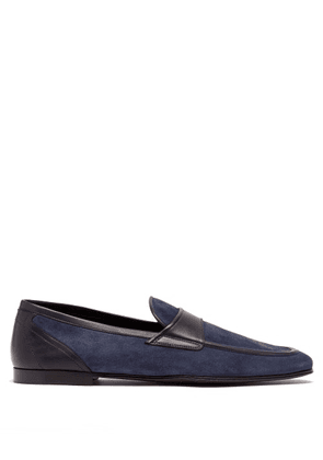 Dolce & Gabbana - Leather-trimmed Suede Loafers - Mens - Navy