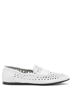 Dolce & Gabbana - Logo-debossed Woven-leather Loafers - Mens - White