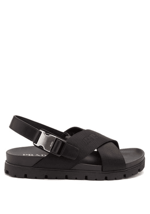 Prada - Logo-jacquard Buckled Canvas And Leather Sandals - Mens - Black