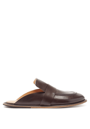 Marsèll - Guardella Backless Leather Loafers - Mens - Dark Brown