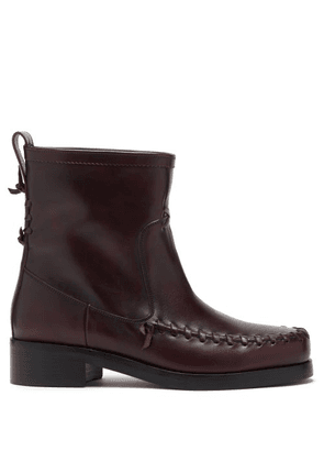 Stefan Cooke - Whipstitched Leather Boots - Mens - Burgundy