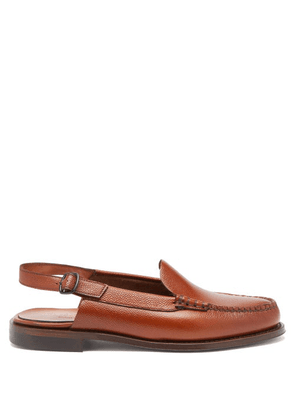 Hereu - Raiguer Grained-leather Slingback Loafers - Mens - Tan