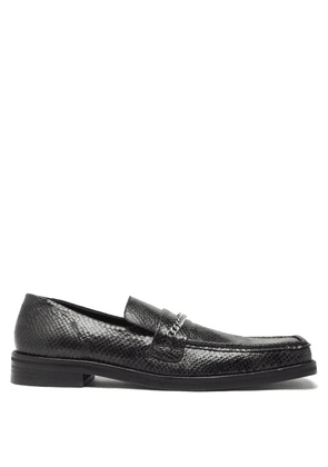 Martine Rose - Square-toe Python-effect Leather Loafers - Mens - Black