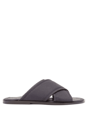 Maison Margiela - Cross-strap Canvas And Leather Slides - Mens - Dark Navy