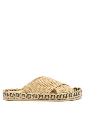 Fendi - Reflections Ff-woven Faux-raffia Espadrille Slides - Mens - Brown