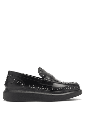 Alexander Mcqueen - Hybrid Studded Leather Penny Loafers - Womens - Black