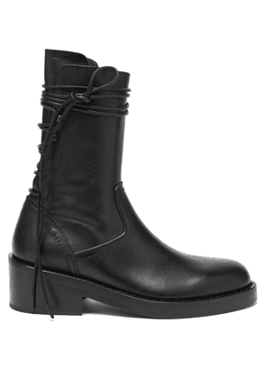 Ann Demeulemeester - Wraparound-lace Leather Boots - Womens - Black