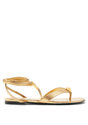 Valentino Garavani - Roman Stud Wraparound Grained-leather Sandals - Womens - Gold