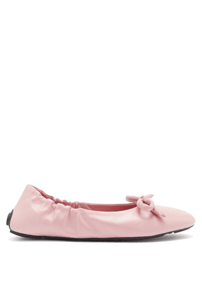 Prada - Bow-front Leather Ballet Flats - Womens - Light Pink