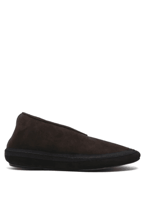 The Row - Fairy Suede And Shearling Boots - Womens - Dark Brown