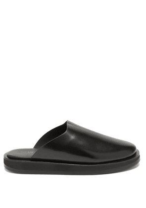 The Row - Sabot Leather Backless Loafers - Womens - Black