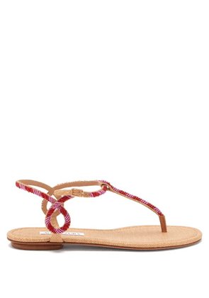Aquazzura - Almost Bare Beaded Raffia And Leather Sandals - Womens - Red Multi