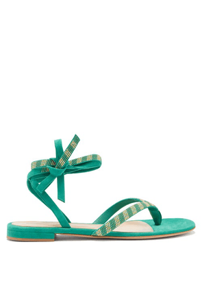 Gianvito Rossi - Beaded Suede Sandals - Womens - Green Multi