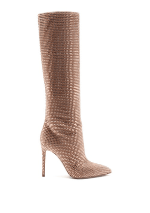 Paris Texas - Holly Crystal-embellished Suede Knee-high Boots - Womens - Pink