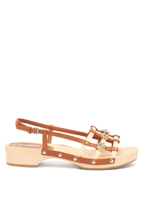Fabrizio Viti - Sofia Leather And Raffia Sandals - Womens - Tan Multi