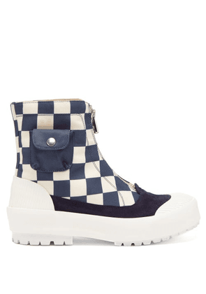 JW Anderson - Zipped Check Cotton-canvas Boots - Womens - Blue White