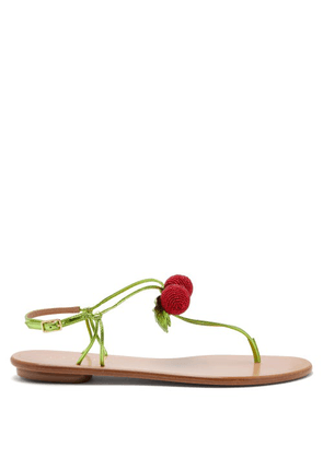 Aquazzura - Manzanita Beaded Leather Sandals - Womens - Green Multi
