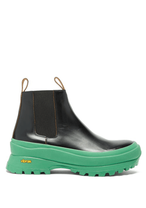 Jil Sander - Chunky-sole Leather Chelsea Boots - Womens - Black Green