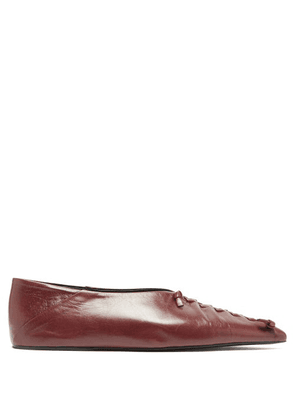 Jil Sander - Point-toe Whipstitched Leather Flats - Womens - Burgundy