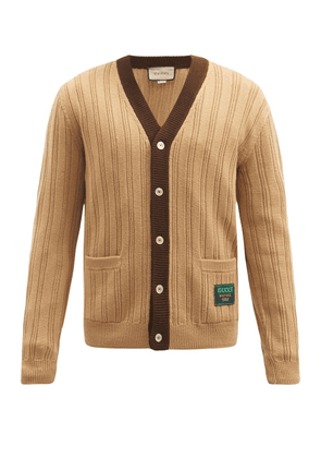 Gucci - Logo-patch Ribbed Wool Cardigan - Mens - Beige