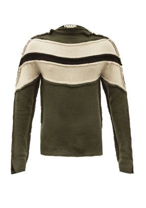 Marni - Panelled Cashmere-blend Sweater - Mens - Green