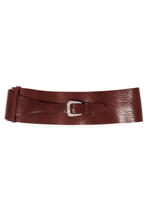 Brunello Cucinelli Pebbled-leather Waist Belt Woman Brown Size M