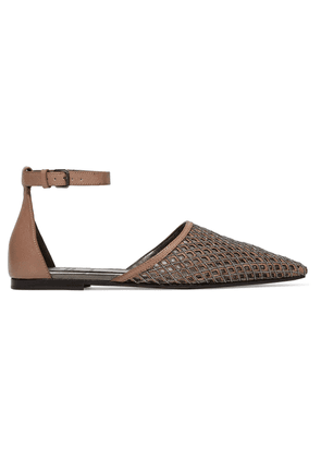 Brunello Cucinelli Bead-embellished Laser-cut Leather Point-toe Flats Woman Light brown Size 40