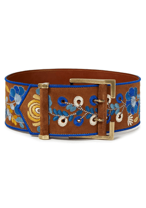 Etro Embroidered Suede Belt Woman Brown Size M