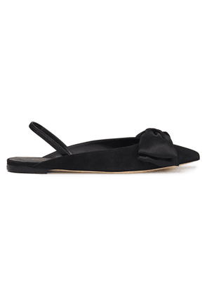 Giuseppe Zanotti Bow-embellished Suede And Satin Point-toe Flats Woman Black Size 35