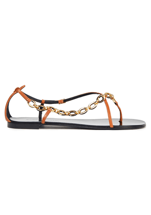 Giuseppe Zanotti Chain-trimmed Leather Sandals Woman Light brown Size 35