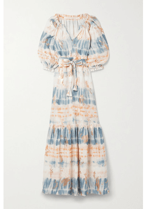 Anna Mason - Belted Metallic Tie-dyed Linen Maxi Dress - Blue