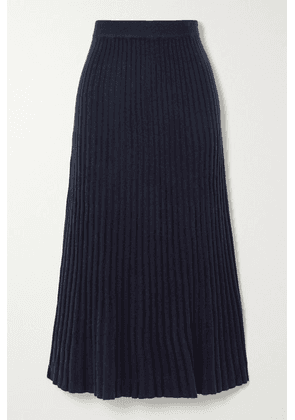 Arch4 - Ribbed Cashmere Midi Skirt - Navy