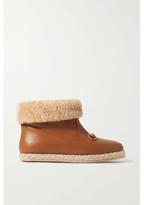 Gucci - Fria Horsebit-detailed Faux Shearling-trimmed Leather Ankle Boots - Tan