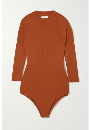 Salvatore Ferragamo - Ribbed Silk-blend Bodysuit - Orange