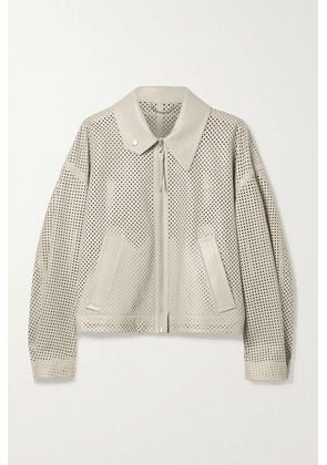 Salvatore Ferragamo - Perforated Leather Bomber Jacket - Beige