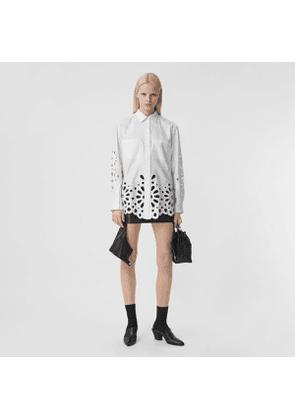 Burberry Broderie Anglaise Detail Cotton Shirt