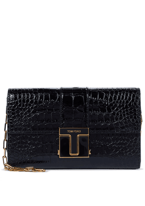 001 Small croc-effect leather clutch