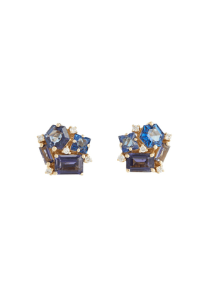 Blossom 14kt gold earrings with diamonds, topaz and lolite