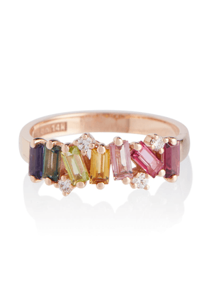 Rainbow 14kt rose gold ring with diamonds and sapphires