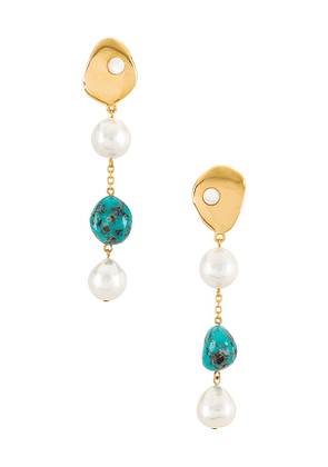Lizzie Fortunato Turquoise Sand Earrings in Metallic Gold.