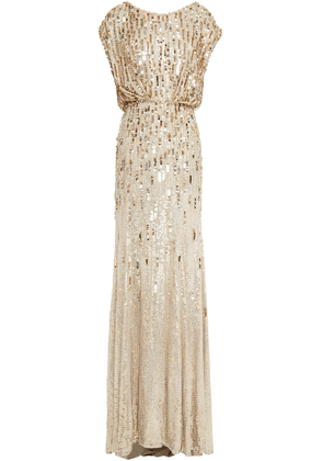 Jenny Packham Crystal-embellished Sequined Georgette Gown Woman Gold Size 6
