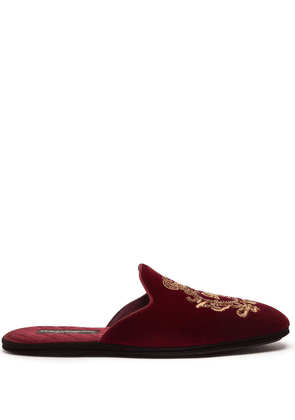 Dolce & Gabbana coat of arms-embroidered slippers